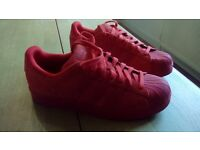 All Red Adidas Superstars (Size 9)