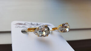 Tear drop earrings, Swarovski crystal and gold