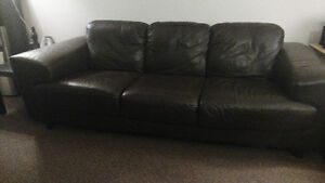 Full sized Brown Leather Couch