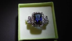 Ladies SIlver Sapphire Ring SIze 8