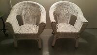 Two antique wicker chairs
