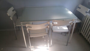 FREE TABLE - small glass top table + chairs upon PICKUP ONLY