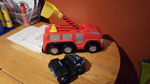 boom truck and car