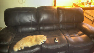 3000$ Italian soft bonded genuine leather couch\2 recliners.