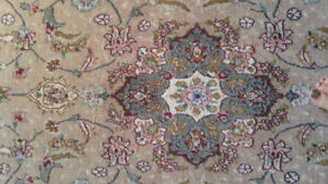2 Persian Rugs Silk and Wool Area Rug and Runner Hand Knotted