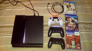 PS4, 3 Controllers, hard copy games and digital games