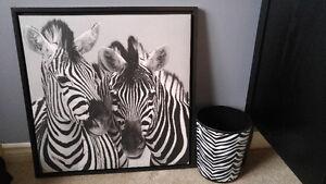 Black White Zebra Photo Print Canvas Wall Art
