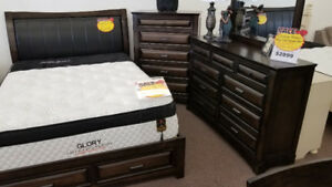 QUEEN SOLID WOOD COMPLETE BED SET AND MATTRESS DEAL ! & WARANTY!