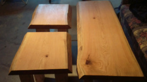 Custom live edge oak coffee tables and end tables
