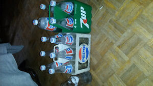 Vintage pepsi bottles and carrying case
