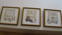 4 framed wine and flower pictures