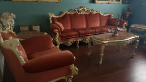 SET DE SALON 6 MORCEAUX ANTIQUE BAROQUE VICTORIEN LOUIS 15