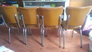 Retro Chair Set 4 Chrome Plated  Padded Cushion 1950s Diner S