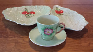 Gorgeous 4 Piece Carlton Ware Set In Cabbage Leaf Style For Sale