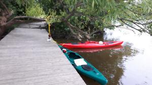 kayak de 12 pieds avec pagaies et jupette.