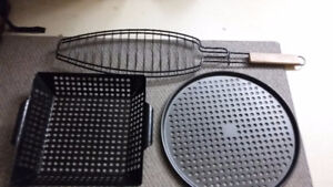 Assorted BBQ pans and baskets