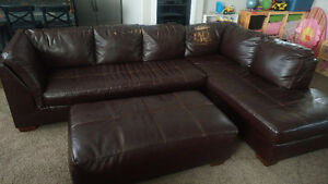 Bonded leather sectional & ottoman
