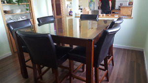 dining set, with 6 chairs, bar height