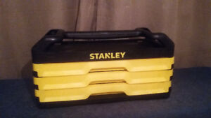 New Stanley 235 pc Black Chrome Mechanic Tool Box & Set $220