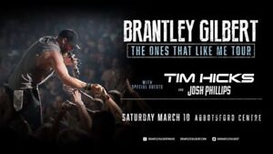 3 BRANTLEY GILBERT SOLD OUT SECTION ABBOTSFORD TIX