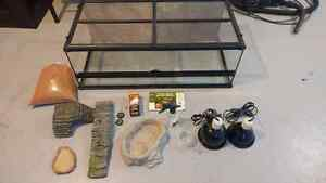 Reptile Enclosure with some useful equipment