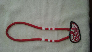 Beaded Detroit red wings necklace