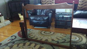 """Large Vintage Wooden Wall Mirror - 37 """" X 32"""" Very Nice!"""