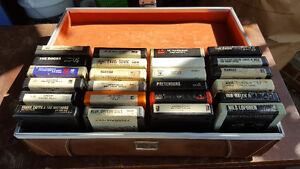 Various 8 Track Tapes with Carrying Case
