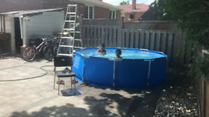 Backyard pool set steel frame 10ft x 30 inch. Almost new