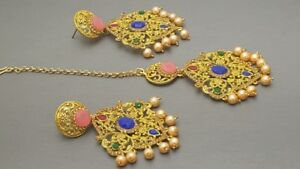 Indian Bollywood Jewellery Rhinestone Pearl Multicolor Tikka Ear