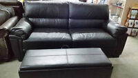 beautiful black leather style couch - Delivery Available