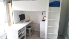 IKEA cabin bed with desk and wardrobe