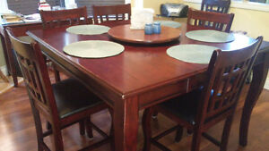 Dark Wood Pub Dining Table + 8 Chairs