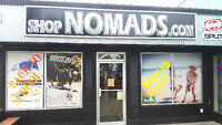 Nomads Skate & Snow Shop seeking mature,reliable Salespeople $12