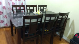 Granite Dining Table 6 chairs set