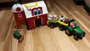 John deere farm and tractor with farm animals