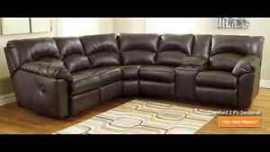 Brown Leather Sectional Recliner and Chaise