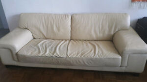 Large REAL leather couch - beige color - original price $2000