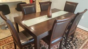 Dark chocolate dining set: 6 seater