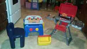 Little tikes work bench and tools and chair and bar b cue