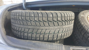 LIKE NEW 205 55 16 winter studded tires + rims 5x114.3