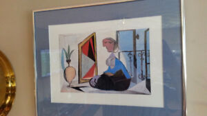 """FRAMED PICASSO PRINT """"WOMAN SITTING IN FRONT OF MIRROR"""""""