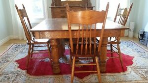 Antique Dining Table and Hutch