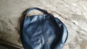 Navy Leather ladies hand bag