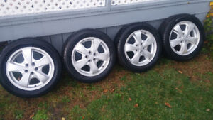Set of Four (4) GM Chevy Rims w Tires (2) 205  55 16""