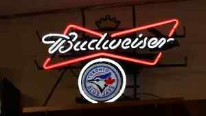 NEW PRICE $299.00 -- TORONTO BLUE JAYS BEER SIGN WITH BUDWEISER