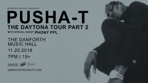 1 ticket to SOLD OUT Pusha T @ Danforth Music Hall - Nov 20