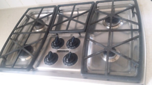 KitchenAid stainless gas cooktop stove & hood