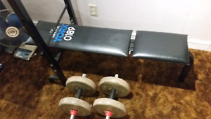 York weight bench and weights set