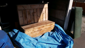 Extra wide solid oak heavy based church pew,